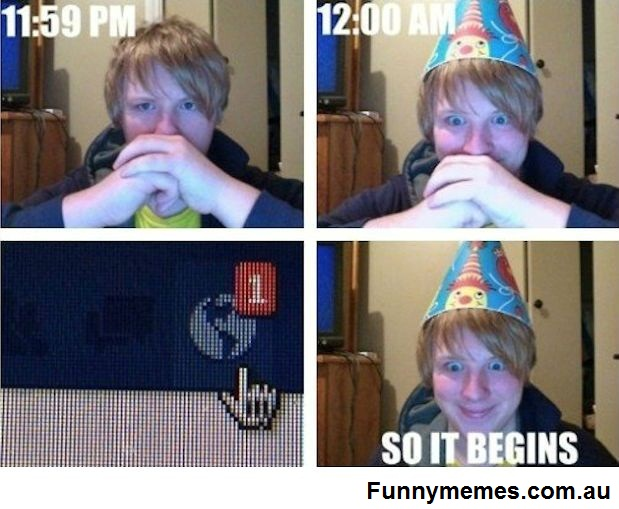 Funny first comment on Facebook birthday meme